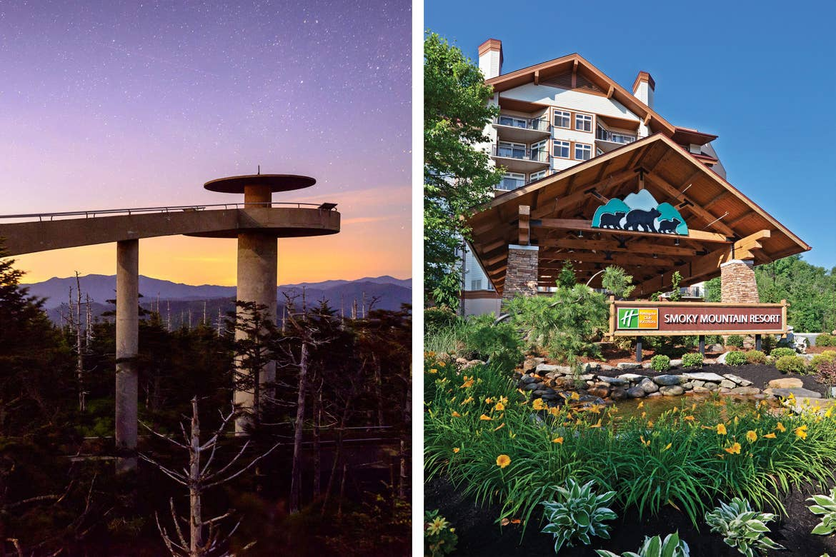 Left: Clingman's Dome as the sun sets and stars appear. Right: Exterior shot of the entrance to Smoky Mountain Resort.