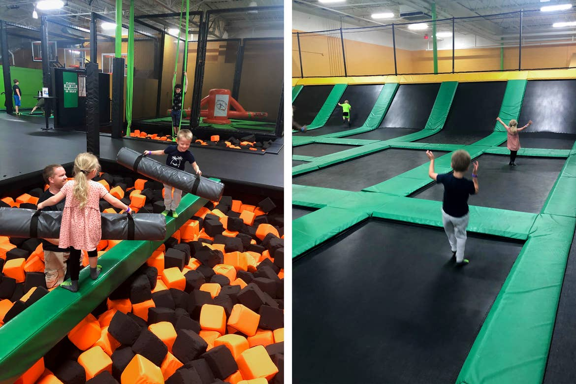 Left: Brianna's daughter (front), husband (left) and son (back) enjoy an obstacle pit at Rockin' Jump Trampoline Park. Right: Brianna's son (front) and daughter (back) jump on the massive trampoline units.