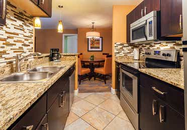 Kitchen in a one-bedroom villa at Desert Club Resort in Las Vegas