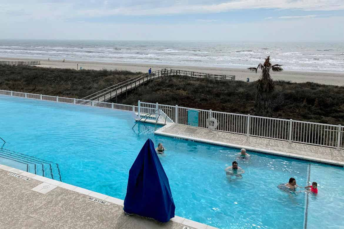 A view of the beach from our villa at Galveston Beach Resort in Galveston, Tx.