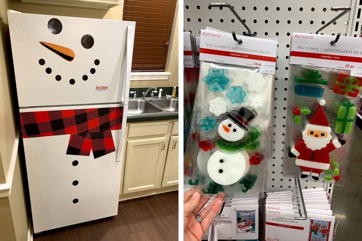 Left: A villa refrigerator decorated with Snowman magnetized accessories. Right: Holiday gel window clings of Santa and Frosty.