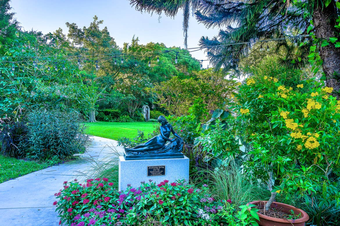 A view along the path of the Albin Polasek Museum & Sculpture Gardens.