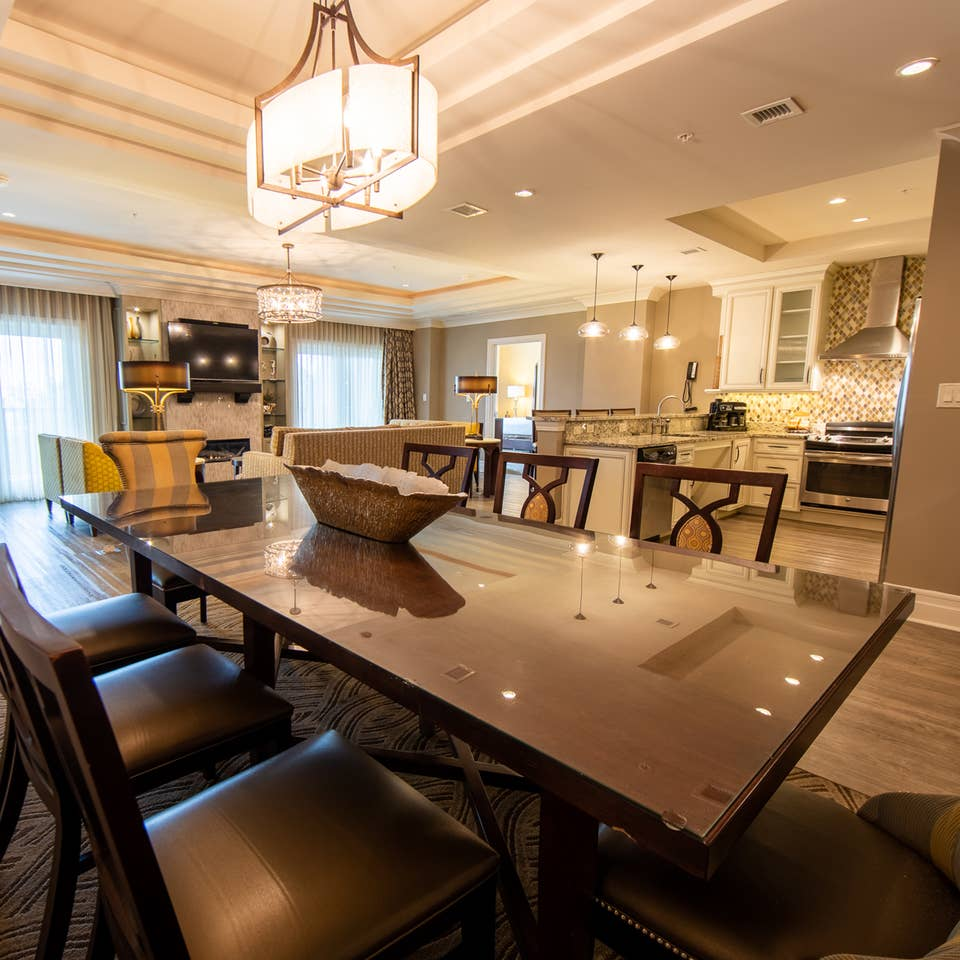 Dining room table in a three-bedroom Signature Collection villa at South Beach Resort in Myrtle Beach, South Carolina.