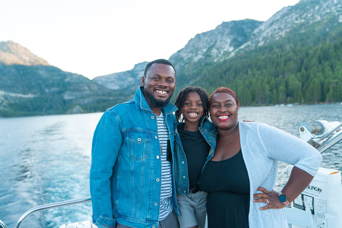 Karen and her family on a boat ride on Lake Tahoe
