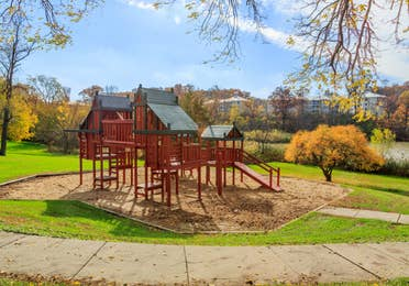 Outdoor children's playground at Fox River Resort in Sheridan, Illinois