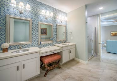 Bathroom with a view of the vanity in a two-bedroom Signature Collection villa at Galveston Seaside Resort