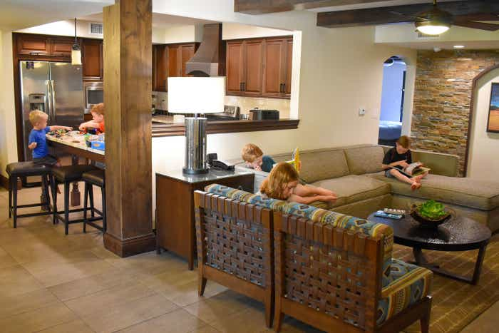 The Averett family sits in our Scottsdale Resort villa using various rooms.