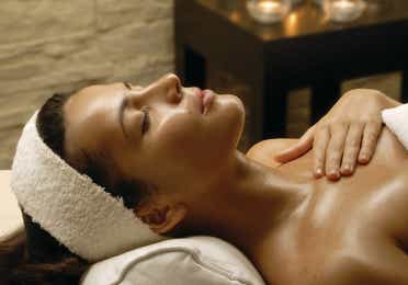 Woman lying down in a spa