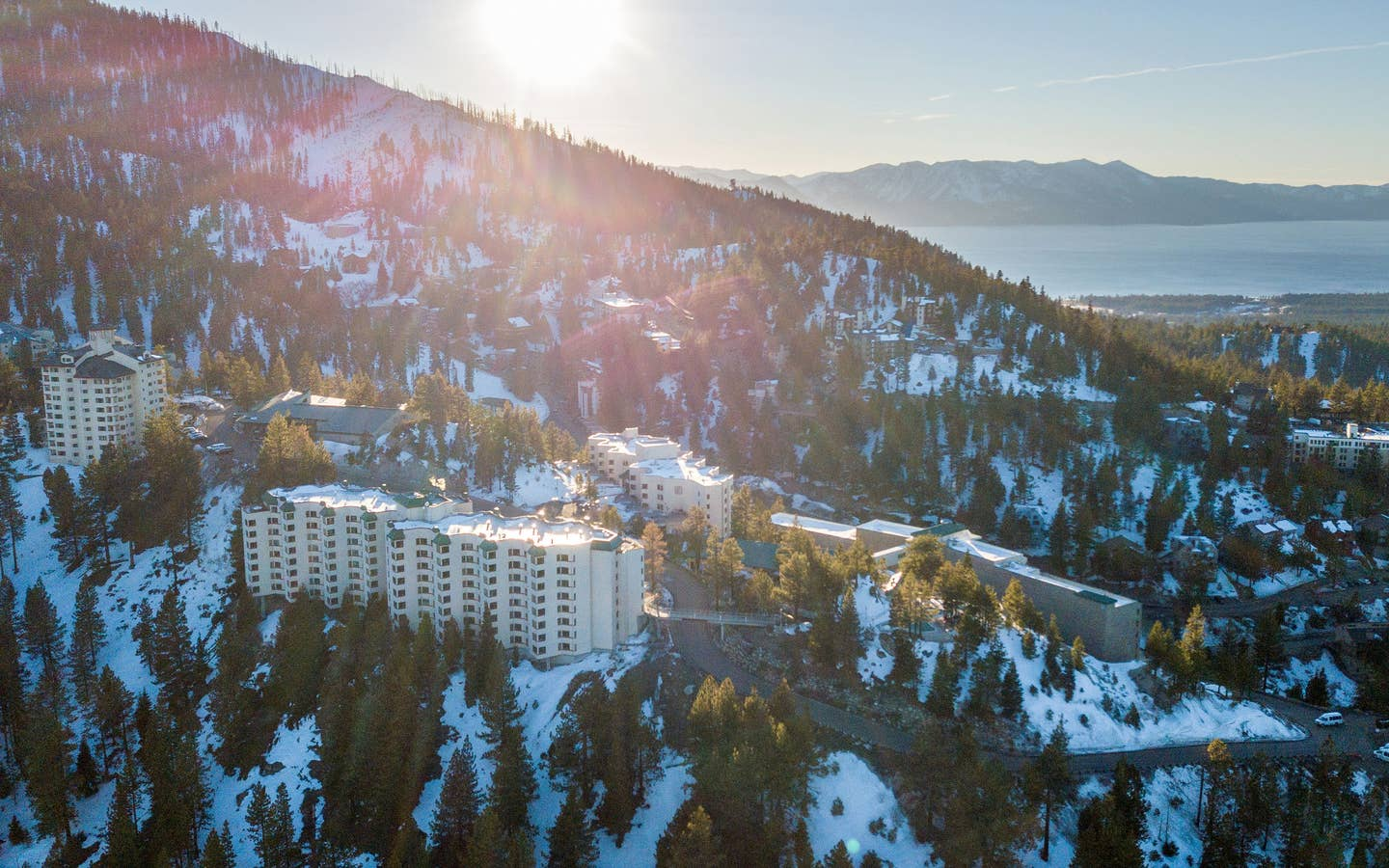 Exterior view of property on snowy hills at Tahoe Ridge Resort in Stateline, Nevada.