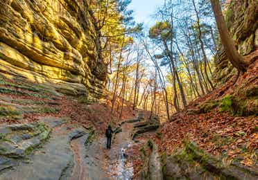 People hiking in Starved Rock State Park near Fox River Resort in Sheridan, Illinois.