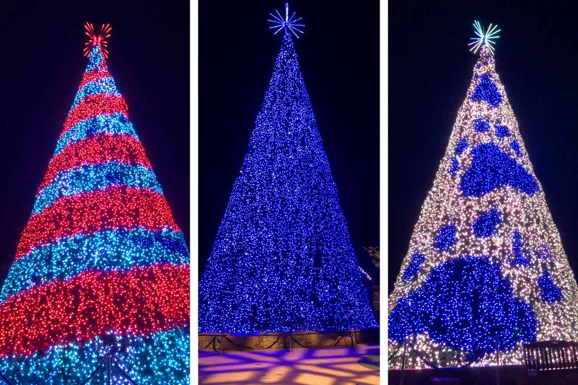 Three photos of a 50' tree made of LED Christmas lights in red and blue stripes (left), blue (middle) and white with blue paw prints (right) at 'Dollywood.'