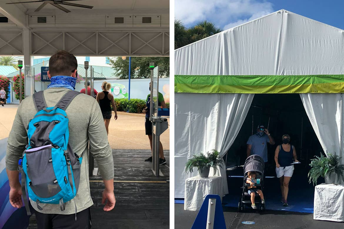 Left: Guest with blue backpack and grey hoodie enters through security checkpoint at the Maingate. Right: Three guests exit the Temperature Screening tent wearing masks.