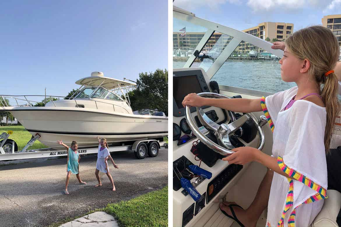 Left: Featured Contributor, Chris Johnston's two daughters, Kyler (left) and Kyndall (right), wear coverups in front of a white boat on a trailer. Right: Kyndall wears a white coverup while steering a white boat in the ocean.