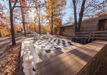 Life-sized outdoor checkerboard at Ozark Mountain Resort in Kimberling City, Missouri.