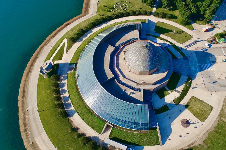 An aerial view of the Adler Planetarium near Lake Michigan.