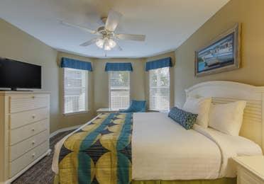 Bedroom in a two-bedroom villa at Galveston Seaside Resort