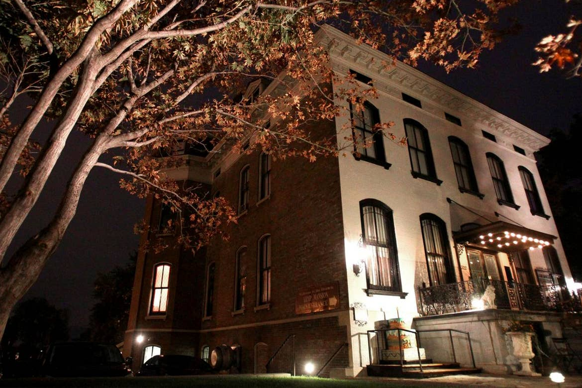 Exterior of the Lemp Mansion in St. Louis Missouri at night.