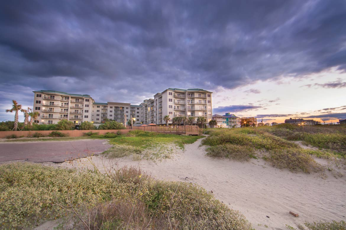 A view of the beach from our villa at Galveston Beach Resort in Galveston, Tx