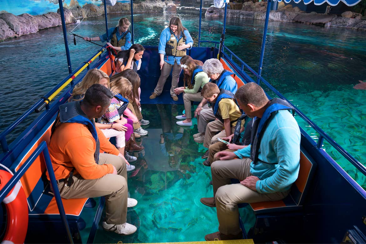 Guests sit on a glass-bottom boat wearing life jackets at an aquarium.