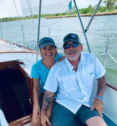 Denise and CJ on the sailboat in Marco Island