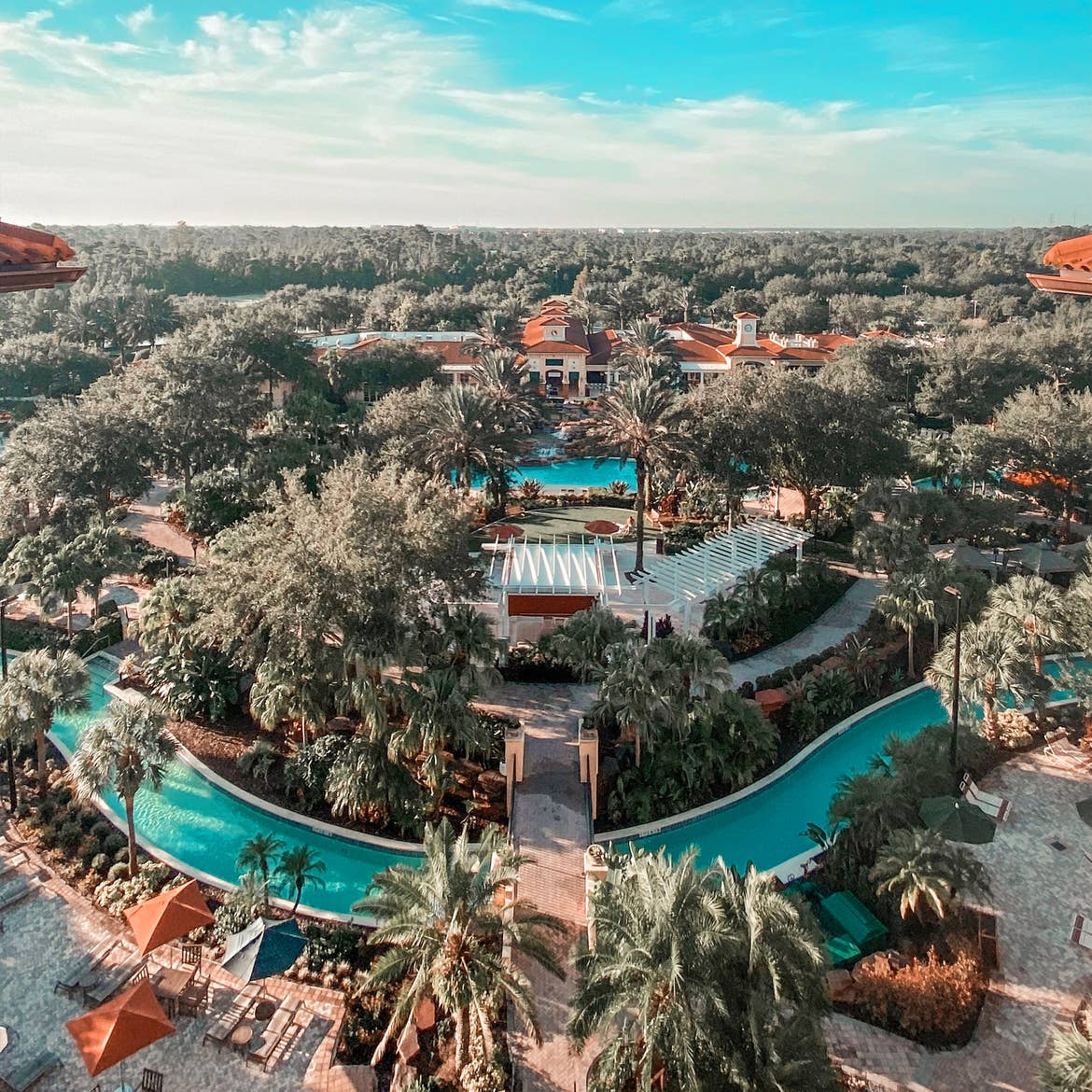 Aerial view of lazy river and The Exchange in River Island at Orange Lake Resort near Orlando, Florida