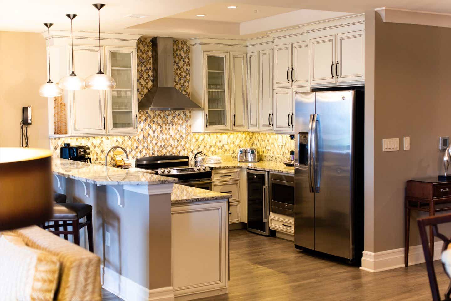 An interior shot of our Signature Villa Kitchen at our South Beach Resort.