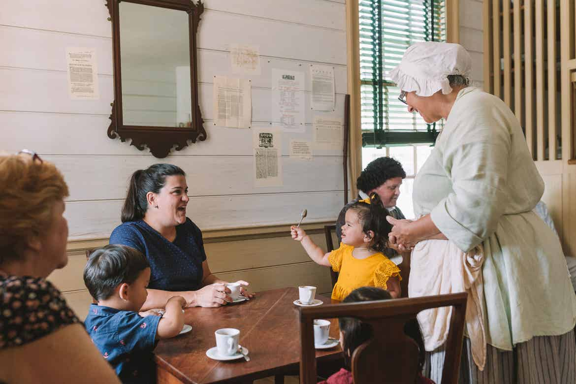 Featured Contributor, Angelica Kajiwara (left), and her family enjoy the dining experience in Williamsburg, Virginia.