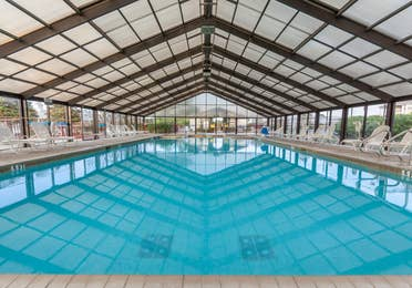 Indoor pool at Piney Shores Resort in Conroe, Texas.