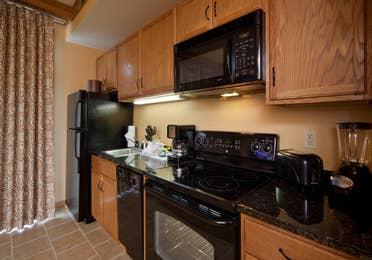 Kitchen in a villa at Smoky Mountain Resort in Gatlinburg, Tennessee.