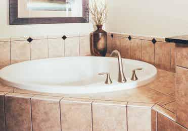 Spa tub in bathroom in a Signature villa in River Island at Orange Lake Resort near Orlando, Florida