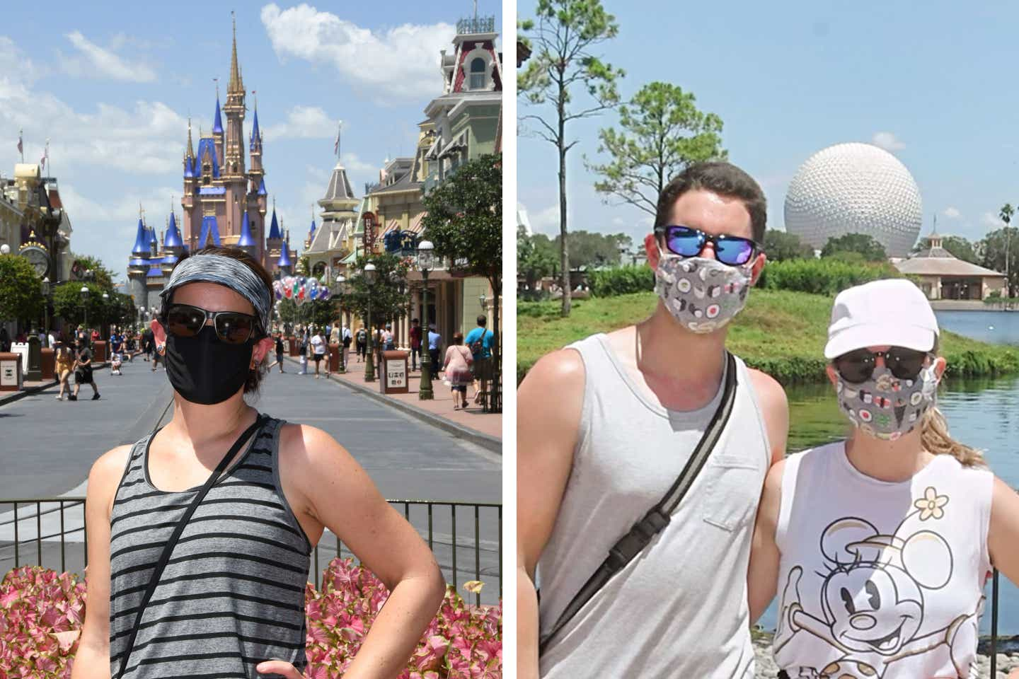 Left: Featured author, Jennifer C. Harmon, in front of Cinderella's Castle in Magic Kingdom at Walt Disney World Resort. Right: Featured author, Jessica Salina, with husband, Anthony, in Epcot World Showcase-Japan Pavilion.