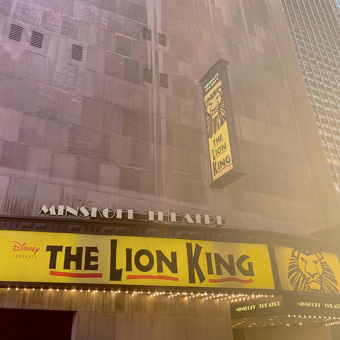 An exterior marquee at the Minskoff Theater for 'The Lion King' in New York City.