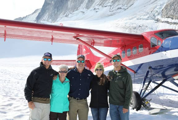 John exploring Alaska by air with his mom, wife and sons