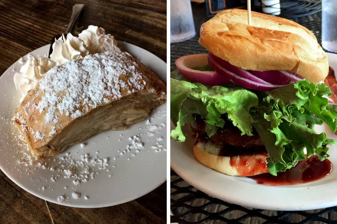 Left: The Hofbräuhaus Restaurant & Pub German Apple Strudel is placed on a white plate. Right: A Bigg Daddy burger is placed on a white plate.