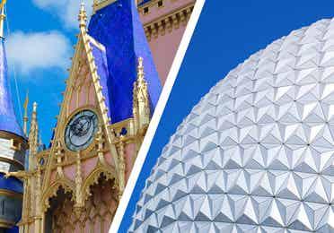 Left: Cinderella's Castle at Magic Kingdom. Right: Spaceship Earth at EPCOT.