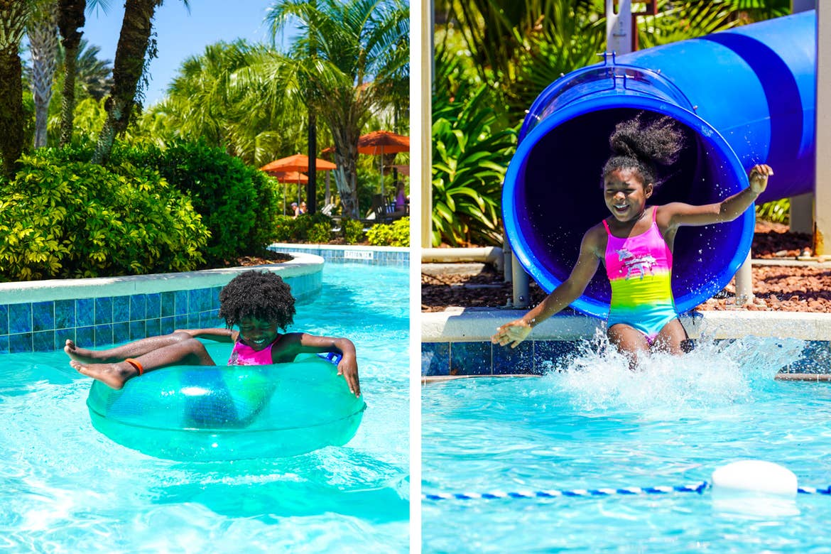 Left: A young girl floats along our lazy river at Orange Lake Resort located in Orlando, FL. Right: A young girl emerges from a blue water slide into the pool.