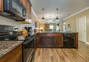 Kitchen in a two-bedroom villa at Williamsburg Resort