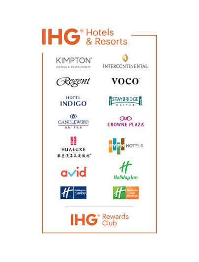 Brand bar with all of the properties associated with IHG