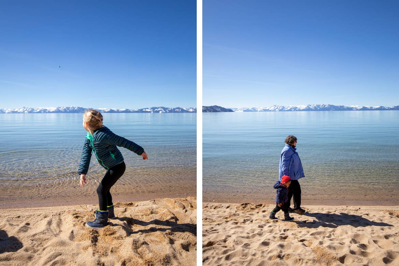 Andrea Rassmussen's children and mom walk along the beachfront.