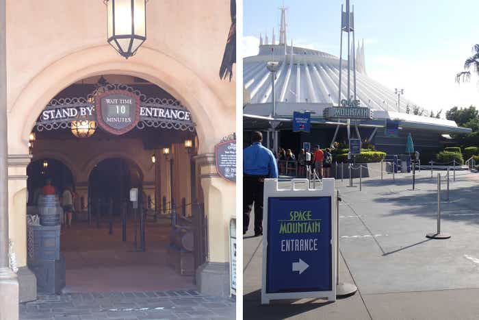 Left: Pirates of the Caribbean queue exterior with Wait Time signage. Right: Space Mountain queue exterior with Wait Time signage and Safety Tape to maintain social distancing.