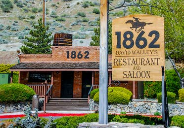 Exterior view of building and sign at 1862 David Walley's Restaurant and Saloon at David Walley's Resort in Genoa, Nevada.