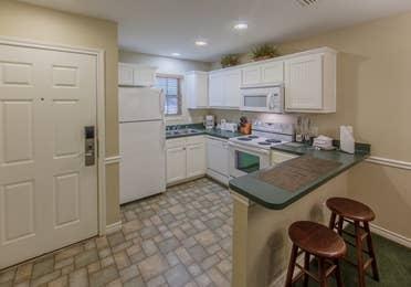 Kitchen in a villa at Holly Lake Resort in Holly Lake Ranch, Texas.