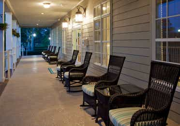 The porch outside of the lobby at South Beach Resort