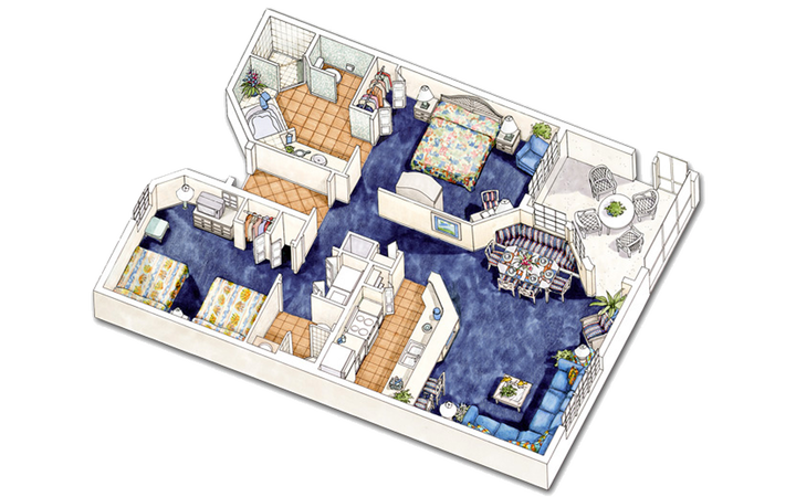 North Village two-bedroom villa floor plan