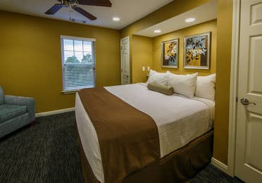 Large Bedroom in a two-bedroom ambassador villa at the Hill Country Resort in Canyon Lake, Texas.