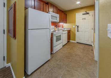 Kitchen with full fridge, oven, and microwave in a studio villa at Fox River Resort in Sheridan, Illinois