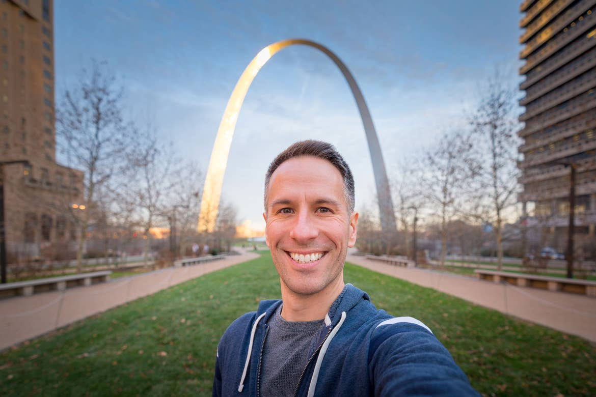 Author, Anthony LeDonne, stands in front of the st. Louis Arch located in St. Louis, Missouri.