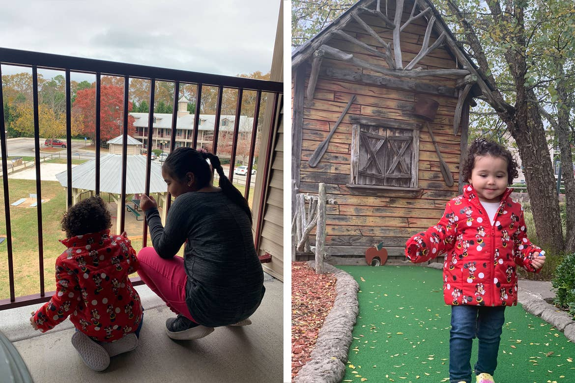 Left: Featured author, Andrea Beltran's, niece's peer from their Apple Mountain resort villa patio.Right: Featured author, Andrea Beltran's, niece walks around the miniature golf course.
