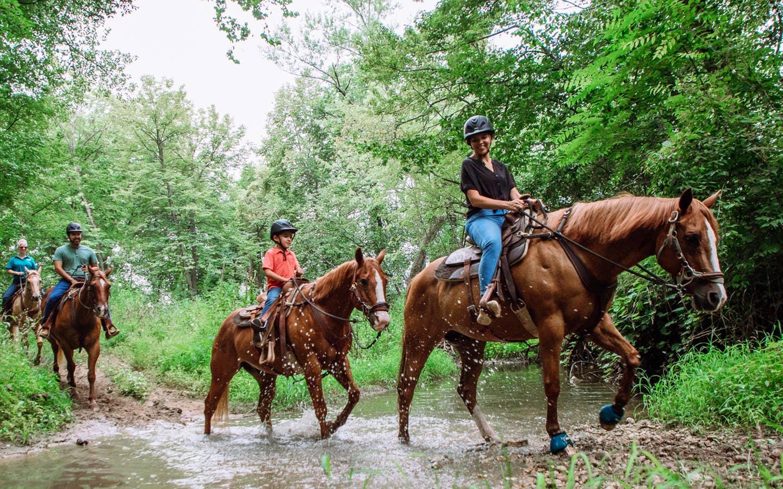 Family of four riding horses.