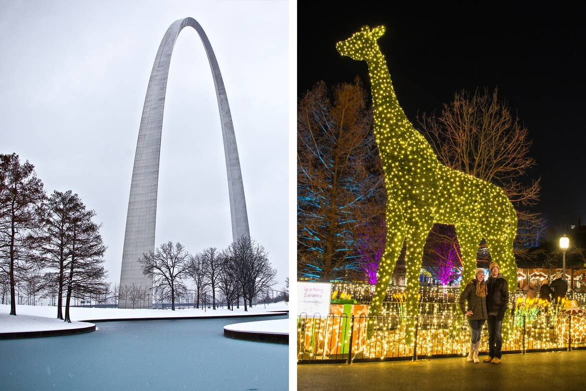 Left: 'St. Louis Arch' in St. Louis, MO while its snows. Right: A giraffe topiary clad with white string lights as two guests pose in front at the Saint Louis Zoo at night.